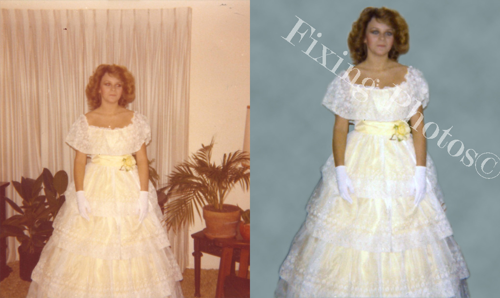 Our photo repair wizards removed her from the old photograph added a plain studio background